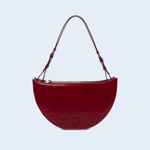 Skórzana torebka na ramię - Aware Bowl bag cherry red