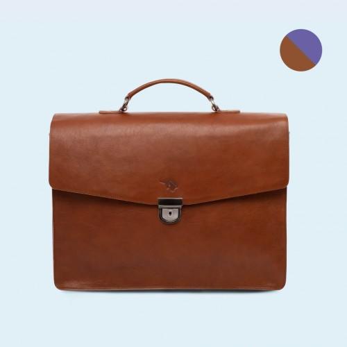bd0de30e1e65a Skórzana teczka biznesowa - SLOW Business cognac/sapphire