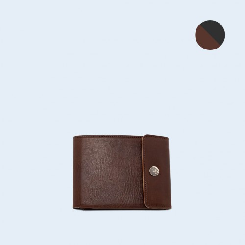 Skórzany portfel męski - SLOW Coin Wallet brown/graphite