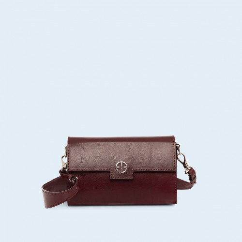Skórzana torebka - Verity mini crossbody burgundy