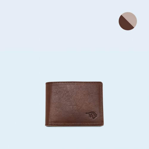 Skórzany portfel męski - SLOW Slim Wallet brown/grey