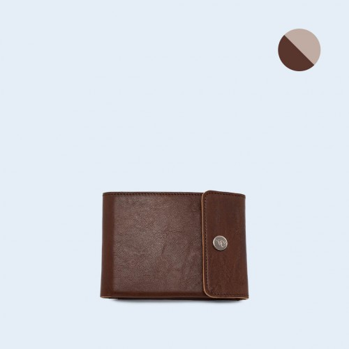 Skórzany portfel męski - SLOW Coin Wallet brown/grey