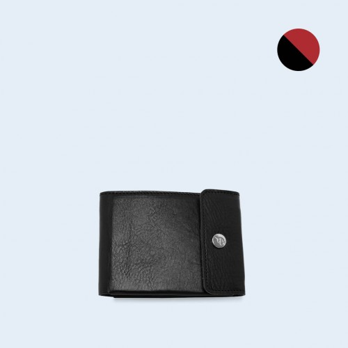 Skórzany portfel męski - SLOW Coin Wallet black/red
