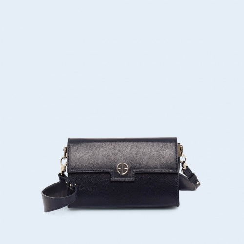Skórzana torebka - Verity mini crossbody navy blue