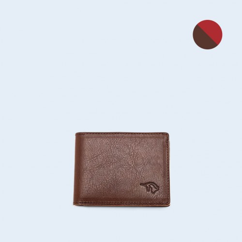 Skórzany portfel męski - SLOW Slim Wallet brown/red