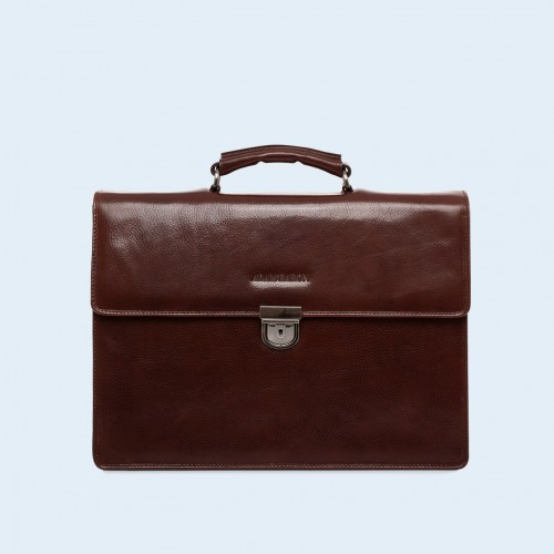 Skórzana teczka damska - Aware Executive briefcase chestnut brown