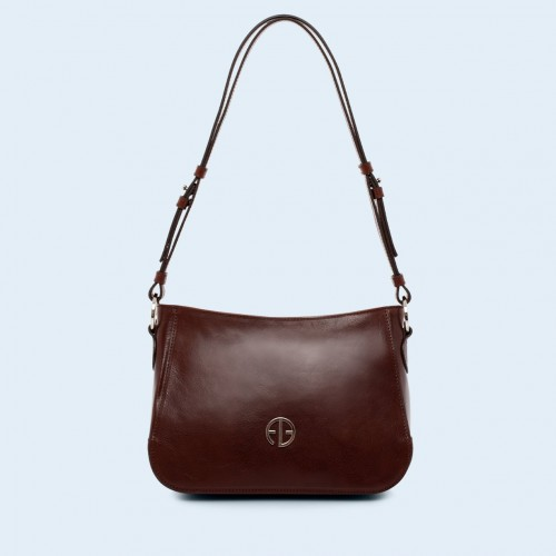 Skórzana torebka na ramię - Aware shoulder bag chestnut brown