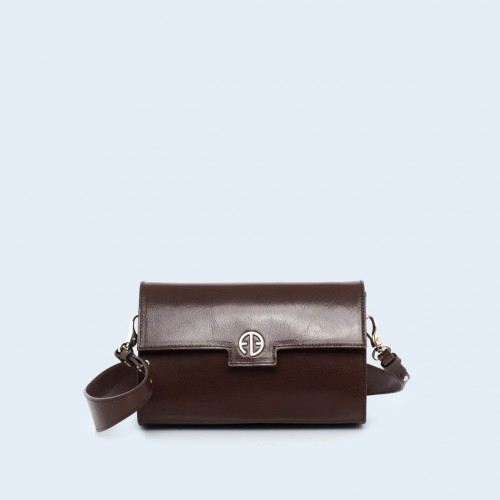 Skórzana torebka - Verity mini crossbody chestnut brown