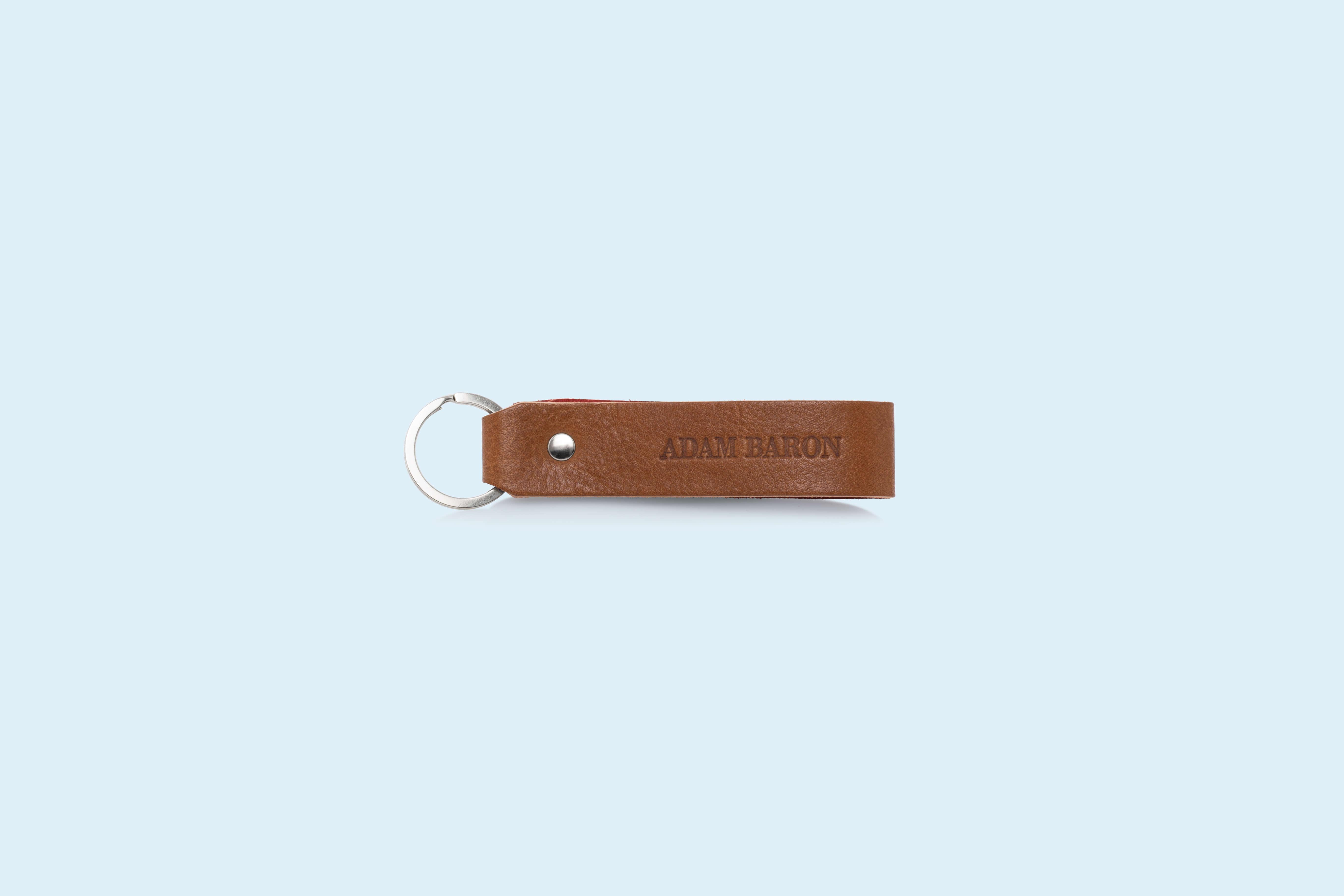 Rewelacyjny Skórzany brelok do kluczy - SLOW Pend cognac/red | ADAM BARON IA58